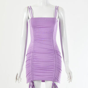 strappy drawstring pleated slim bodycon dress