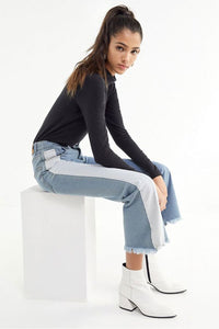 fringed hem contrast color flared pants bell-bottomed jeans