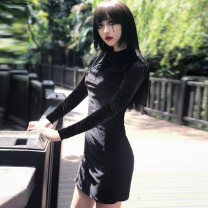 chinese style mock neck velvet side slit slim dress