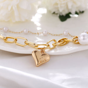 chic pearl love double layer chain bracelet set