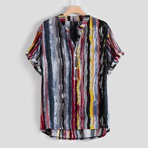 men's cotton and linen printed short sleeve shirt with standing collar