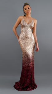 gradient color sequins deep v neck back criss-cross maxi dress