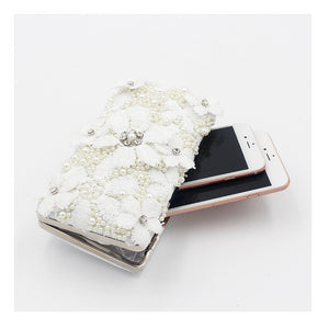 fashion handmade lace pearl dinner clutch