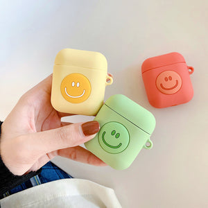 simple macaron smile silicone AirPods protector case