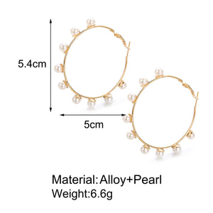 retro exaggerated big circle pearls earrings set