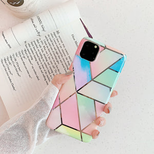 colorful geometric marble electroplated back cover phone case