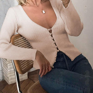 sexy pearls buttons knitted top cardigan
