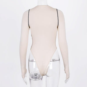 black lines patch o-neck slim bodysuit top