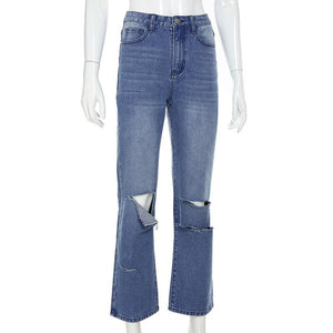 high waist knee ripped leisure jeans pants