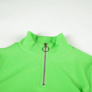 candy color front zipper mock neck slim crop top