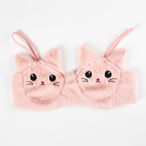 sweet furry embroidered cat bra top