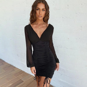 deep v mesh sleeved drawstring pleated slim dress