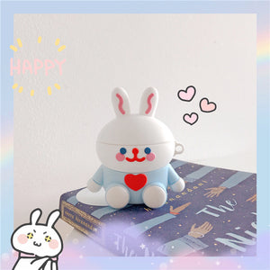 3D cute rabbit silicone AirPods protector case
