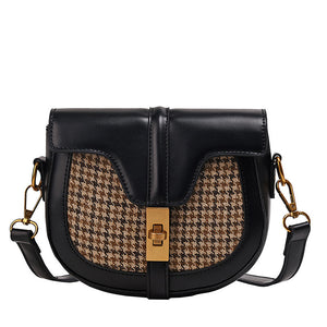 vintage houndstooth versatile hasp cross body bag