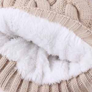 fleece inside double-layer knitted big furry ball warm hat cap