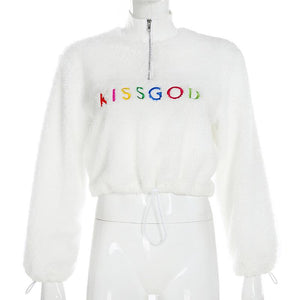 colorful letters embroidered drawstring lamb wool coat