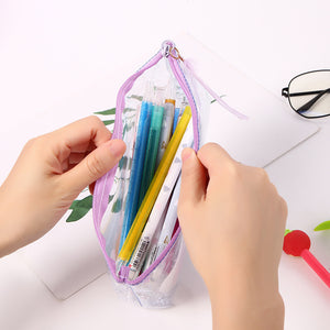 creative feather transparent large capacity pencil case