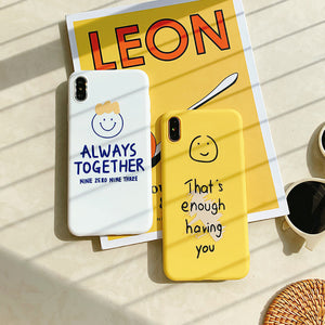 smiling face letters printed couple's soft phone case