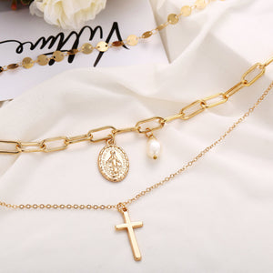 chic cross jesus pearl sequin multi-layer choker necklace