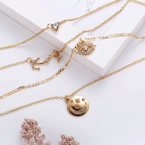 charm eye & star moon & seal pendant rhinestone studded multi-layer choker necklace