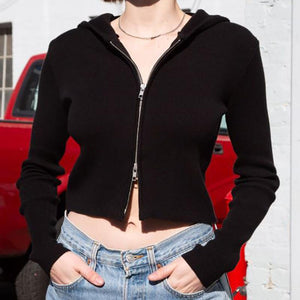 double zipper hooded slim knitted crop top sweater