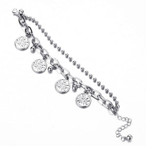 retro life tree pendant double layer chain bracelet