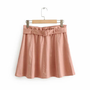 sweet pink high waisted belted a-line suede skirt