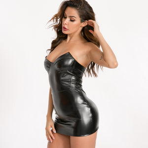 punk black pu strapless slim bodycon mini dress