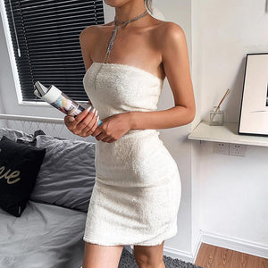 strapless furry solid color slim bodycon dress