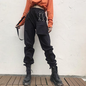 asymmetric one big-pocket hip-hop leisure jogger pants