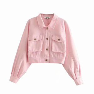 turn-down collar front pockets short jacket