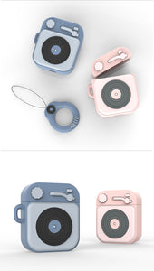 cute vintage phonograph shaped silicone case airpods 1/2 protector case