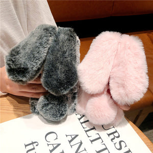 plush warm  rabbit ears furry fluffy fur cover phone case