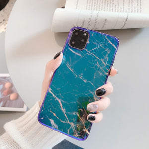 dazzling blue ray marble print soft cover phone case