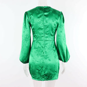 satin jacquard puff sleeved deep v neck front buttons bodycon dress