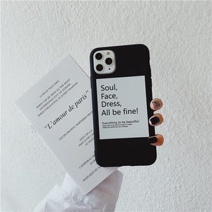 simple letters printed soft cover phone case