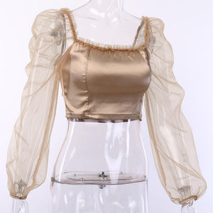 solid color satin mesh patchwork slim crop top