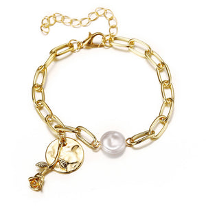 simple pearl wafer studded rose pendant chain bracelet