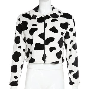 cute cow print turn-down collar furry warm coat