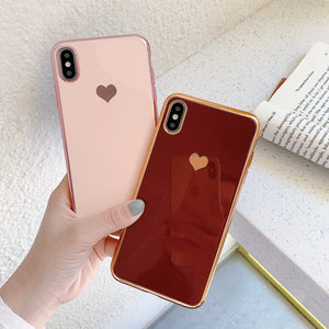 solid color heart electroplated cover phone case