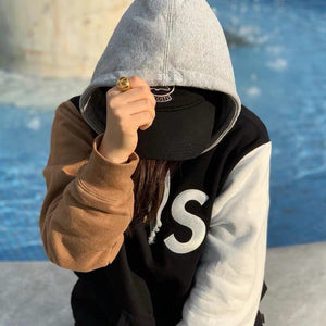 """s"" embroidered contrasting coloured brushed hooded sweatshirt"