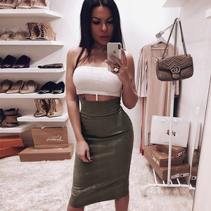 suede solid color high waisted slim midi skirt