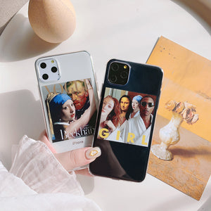 funny painting posters transparent soft phone case