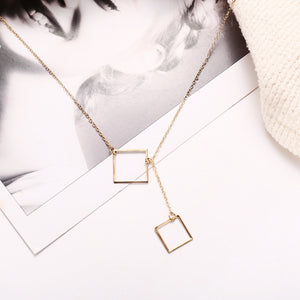 simple geometric square pendant choker necklace