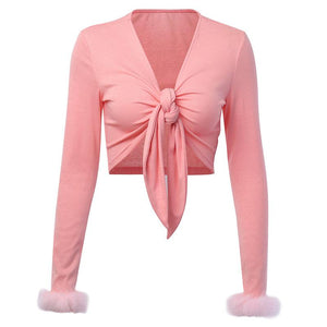 deep v front bow-tie furry sleeved crop top