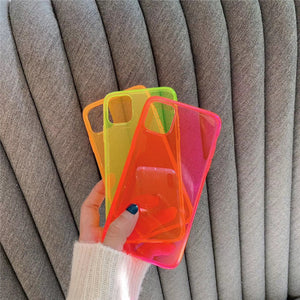 neon color transparent soft cover phone case