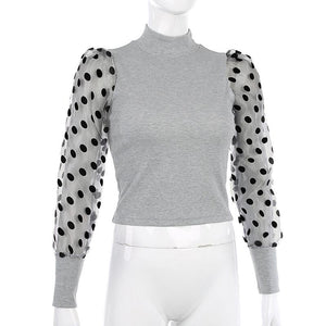 polka dots mesh sleeved patchwork knitted slim top