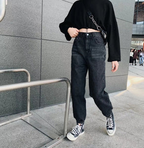 BF style retro high waisted jogger jeans harem pants