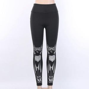 Egyptian cat printed punk black slim leggings pants