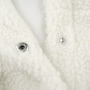 lamb wool solid color double pockets leisure jacket coat